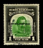 COLOMBIA-CIRCA 1950:A stamp printed in Colombia shows image of the Giovanni Battista Agostino Codazzi  was an Italian military, scientist, geographer and cartographer, circa 1950.