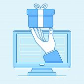 Hand Giving Present For Online Shop Customer - Online Store poster