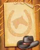 Cowboy Old Paper Background With Hat For Text