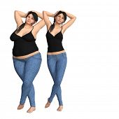 Conceptual fat overweight obese female vs slim fit healthy body after weight loss or diet with muscl poster