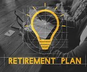 Planning Retirement Plan Bulb Icon Sign  poster
