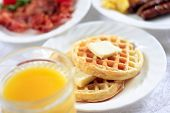 waffles and oj breakfast