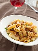 rigatoni pasta with tomato meat sauce and wine