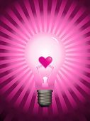 Vector - Bright and glowing light bulb with star burst effect and a valentine heart in the center as the filament. Concept: Heated passion.