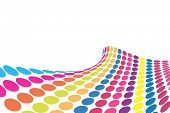 Raster - 3D Halftone colorful retro dots forming a wave for background use.