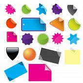 Raster - Alot of glossy and colorful sale tag stickers.