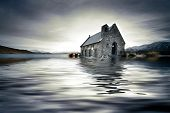Small church in New Zealand engulfed in a flooded lake