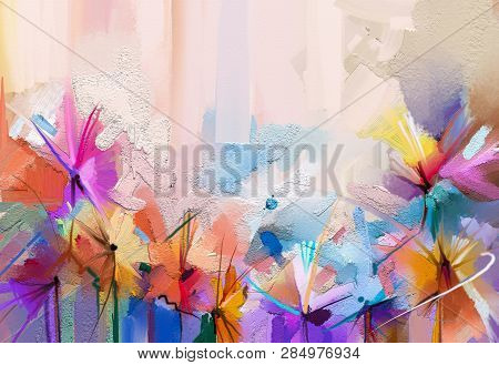poster of Abstract Colorful Oil, Acrylic Painting Of Spring Flower. Hand Painted Brush Stroke On Canvas. Illus