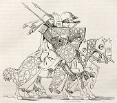 Knights going to a tourney. After 14th century manuscript, published on Magasin Pittoresque, Paris, 1845