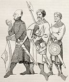 Three medieval soldiers old illustration. After 14th century miniature, published on Magasin Pittoresque, Paris, 1845