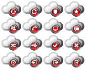Virtual Cloud Icons Set 2 Red