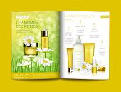 Vector Template For Glossy Cosmetic Magazine. Magazine Or Catalog Spread, Page With Natural Herbal C poster