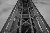 Bottom View Of The Railway Bridge. Metal Constructions Of The Railway Bridge, The Bottom View. Abstr poster