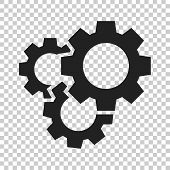 Gear Vector Icon In Flat Style. Cog Wheel Illustration On Isolated Transparent Background. Gearwheel poster