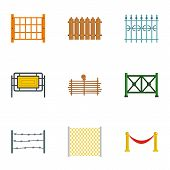 Types Of Fence Icons Set. Flat Set Of 9 Types Of Fence Icons For Web Isolated On White Background poster