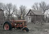 Rusty Antique Red Tractor On Farm - See More In Portfolio