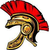Capacete espartano de Tróia imagem vetorial de mascote.