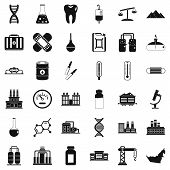 Chemical Molecule Icons Set. Simple Style Of 36 Chemical Molecule Icons For Web Isolated On White Ba poster