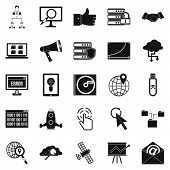 Shadow Internet Icons Set. Simple Set Of 25 Shadow Internet Icons For Web Isolated On White Backgrou poster