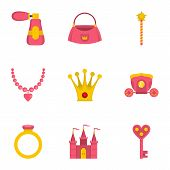 Doll Princess Icon Set. Flat Style Set Of 9 Doll Princess Icons For Web Isolated On White Background poster