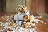 Homemade Granola Energy Bars With Figs, Oatmeal, Almond, Dry Cranberry,  Dates, Nuts, Raisins, Sesam poster
