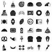 Calories In Food Icons Set. Simple Style Of 36 Calories In Food Icons For Web Isolated On White Back poster