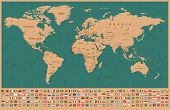 World Map And Flags - Borders, Countries And Cities - Vintage Vector Illustration poster
