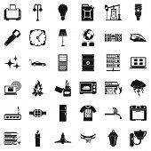 Electricity Signal Icons Set. Simple Style Of 36 Electricity Signal Icons For Web Isolated On White  poster