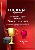 Ice Hockey Certificate Diploma With Golden Cup Vector. Sport Award Template. Achievement Design. Hon poster