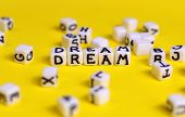Dream Concept. Cubes With dream Word And Other Defocused Cubes. Make Dreams Come True Idea. poster