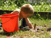 boy plays with toy tools in the garden