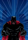 Silhouette Illustration Of Raging Superhero With Clenched Fists Ready For Battle. .... poster