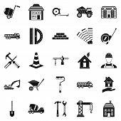 Erection Icons Set. Simple Set Of 25 Erection Icons For Web Isolated On White Background poster