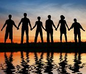 picture of person silhouette  - six black silhouette of friends - JPG