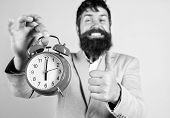 Hipster Happy Working Day Is Over. Businessman Finished On Time. Time Management Skills. Best Time O poster