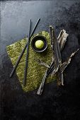 Still life with sushi ingredients poster