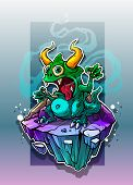 Cartoon Funny Crazy Green Stinky Monster With Horns And Canines On Underwater Stone Rock. On Blue Ba poster