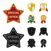 Vector Design Of Emblem And Badge Symbol. Set Of Emblem And Sticker Stock Symbol For Web. poster