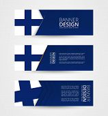 Set Of Three Horizontal Banners With Flag Of Finland. Web Banner Design Template In Color Of Finland poster