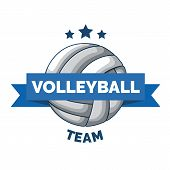 Volleyball Logo Badge Isolated On White Background. Logo Sport Isolated. Volleyball Championship Log poster