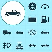 Automobile Icons Set With Tie, Sedan, Station Wagon And Other Oil Station Elements. Isolated  Illust poster