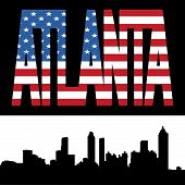 Atlanta Skyline With Flag Text