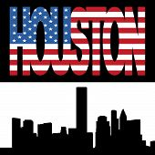 Houston Skyline With Flag Text