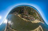 Aerial View, Fishing Village And Mimbeau Beach, Cap Ferret, Arcachon Basin, Lege Cap Feret, Gironde poster