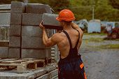Construction Worker. Construction Worker Carry Bricks. Construction Worker Unload Truck. Constructio poster