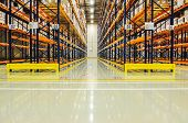 Warehouse Racking In Large Industrial Storage, Copyspace, Industrial, Manufacturing And Logistics Co poster