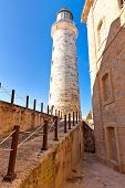 stock photo of el morro castle  - The famous castle and lighthouse of El Morro - JPG