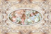 3d Ceiling Murals Wallpaper, Stucco Molding On Marble Background. 3d Ceiling, White Decor Frame, Sto poster