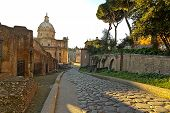 A cobblestone street in old Rome