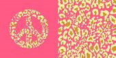 Animal pink wallpaper and hippie peace symbol with leopard gold print. Fashion design for t-shirt, b poster